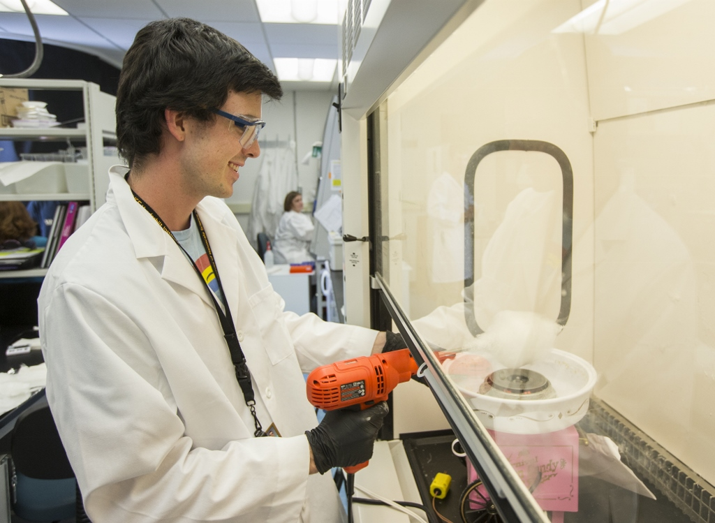 Brad makes microfibers with a cotton candy machine