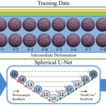 An overview of the proposed method. Three geometric features (iH, SD, H) are used for training the spherical U-Net to predict 49 cortical parcellation labels. For each geometric property, intermediate deformation fields draw a total of 11+11 respective samples after boundary and geometric alignment for data augmentation. The cortical parcellation is then performed using the original geometric features of testing subjects.