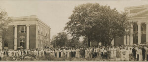 In 1914 students and faculty of George Peabody College for Teachers gather outside the new Home Economics and Industrial Arts buildings.