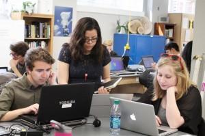 Daniel Mehus, Liza MacPherson, and Valeria Garcia plan their EAB project