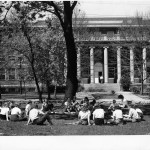 """Peabody Demonstration School students on """"The Green"""" in the 1950's"""
