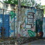 """Graffiti on a wall in San Salvador """"Let us make the difference through peace."""""""